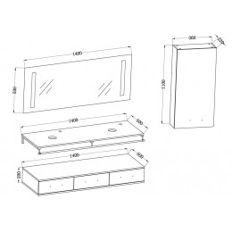 Plan du meuble double vasque VIRTUOSE DUO Blanc
