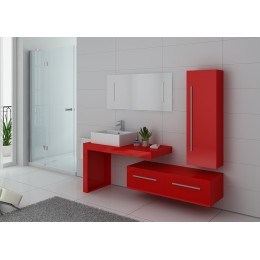 DIS9250CO Meuble salle de bain simple vasque rouge coquelicot