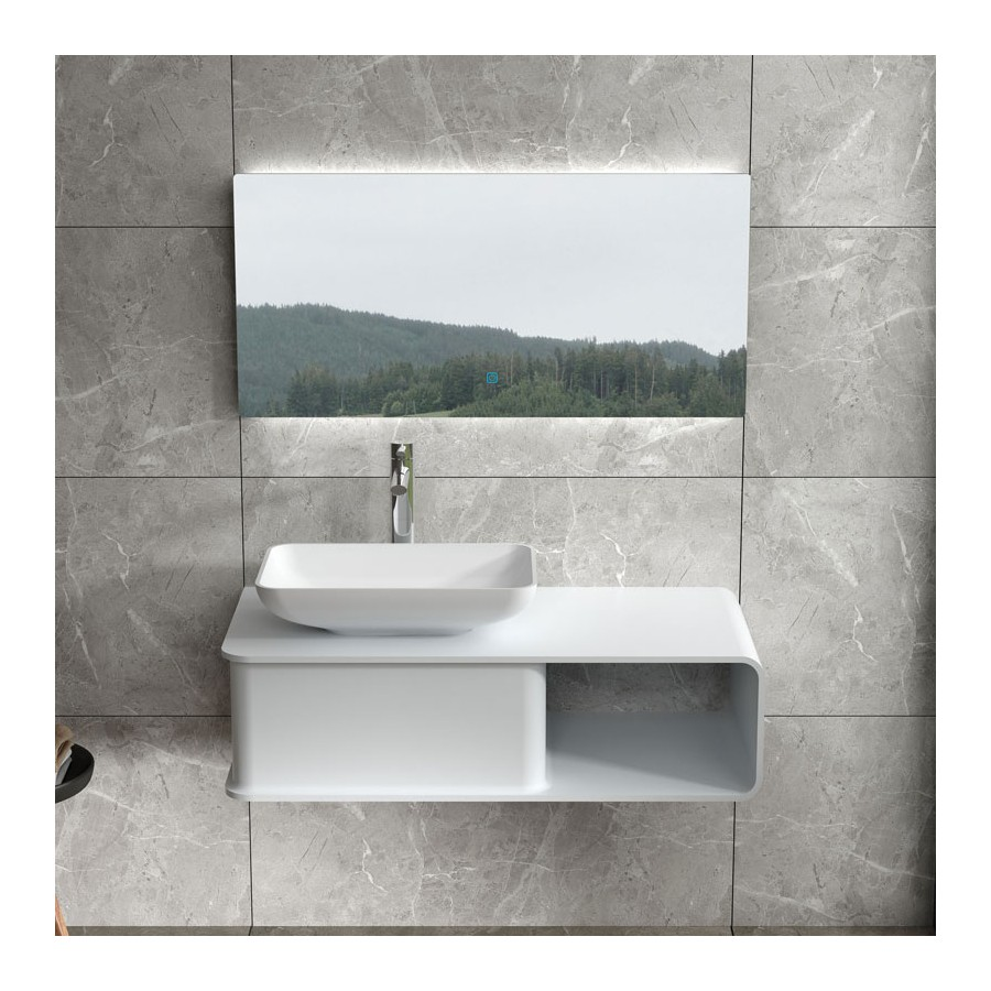 Plan de toilette SDVP6L avec vasque rectangulaire SDVP4 en solid surface