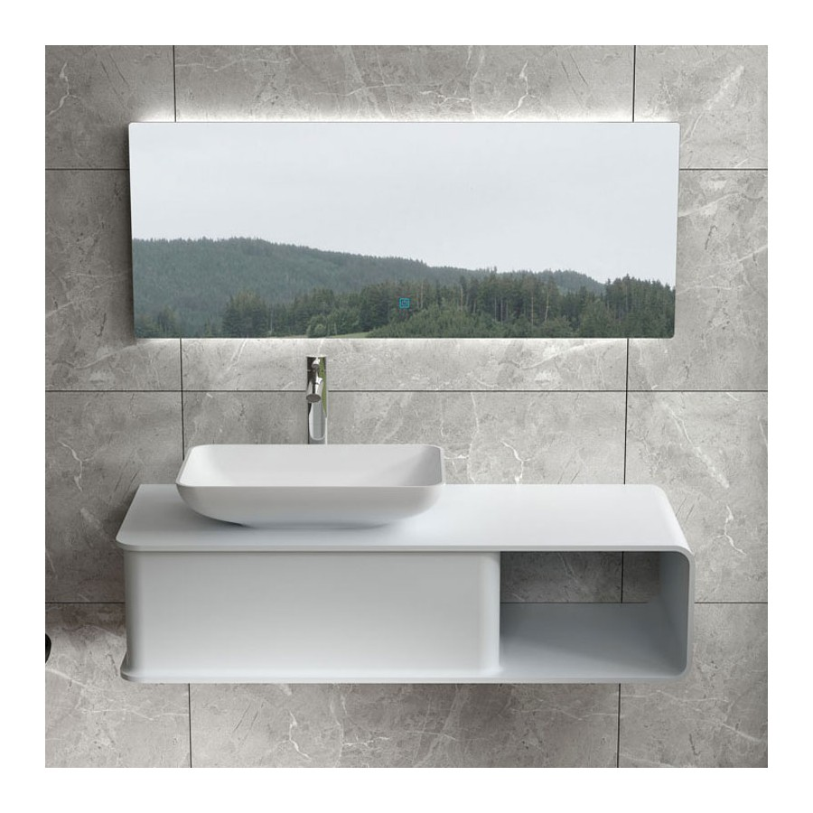 Plan de toilette SDVP7L avec vasque rectangulaire SDVP5 en solid surface