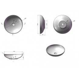 Dimensions de la vasque ronde SDVP3 en solid surface