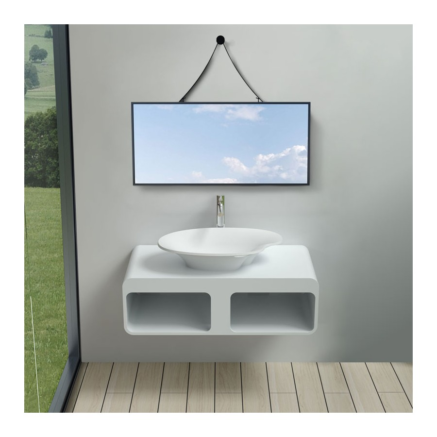 Plan de toilette SDK52 avec vasque palette SDV45-N en solid surface