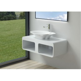 Plan de toilette design avec vasque palette SDK52+SDV45-N en solid surface