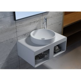 Plan de toilette suspendu SDK56 et vasque ronde en solid surface SDV40