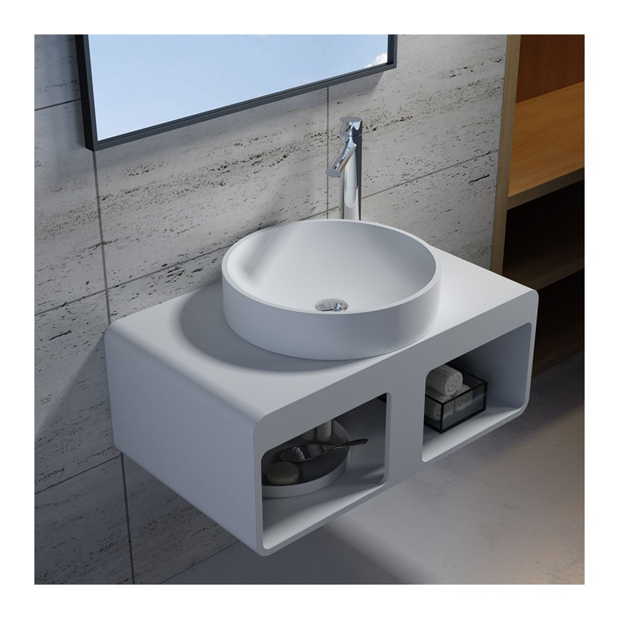 plan de toilette sdk56 avec vasque ronde sdv40 en solid surface. Black Bedroom Furniture Sets. Home Design Ideas