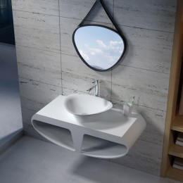 Plan de toilette SDK51 avec vasque triangulaire SDV34 en solid surface