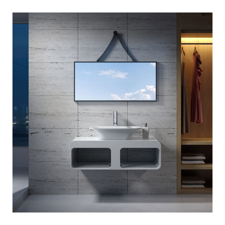 Esnemble plan de toilette SDK52 avec vasque rectangulaire SDV36 en solid surface