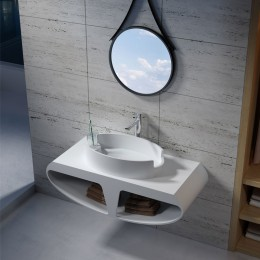 Plan de toilette suspendu SDK51 avec vasque design SDV70 en solid surface blanc mat