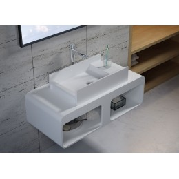 Ensemble plan de toilette SDK52 et vasque rectangulaire SDV71 en solid surface
