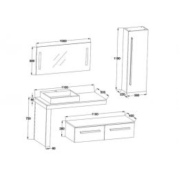Dimensions de l'ensemble DIS9250BT