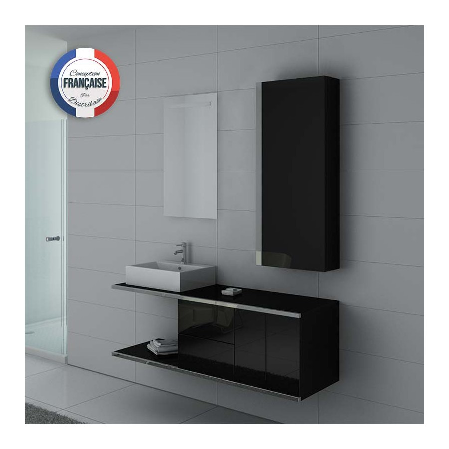 dis9450n meuble salle de bain noir. Black Bedroom Furniture Sets. Home Design Ideas