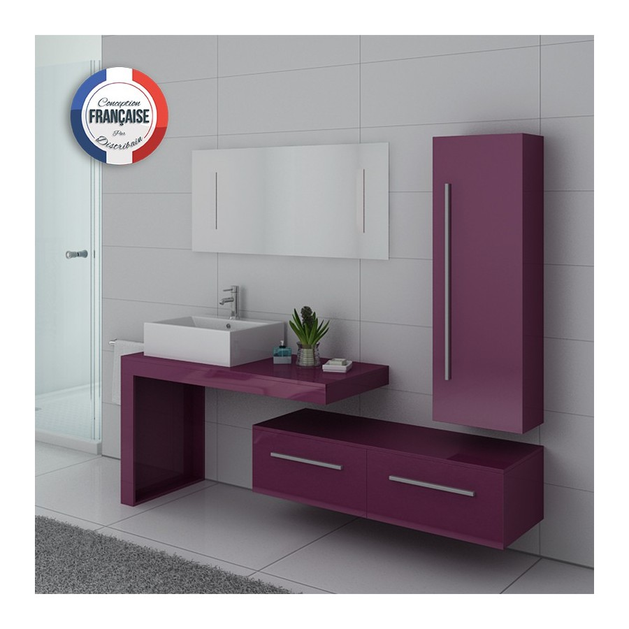 dis9250au meuble salle de bain aubergine. Black Bedroom Furniture Sets. Home Design Ideas