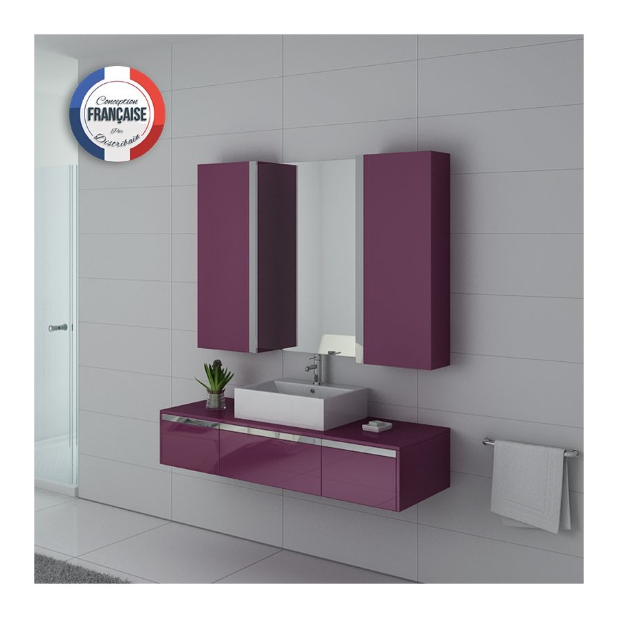 dis9650au meuble salle de bain simple vasque aubergine. Black Bedroom Furniture Sets. Home Design Ideas