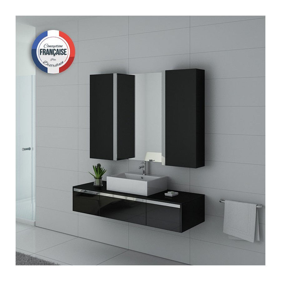 dis9650n meuble salle de bain noir laqu et inox. Black Bedroom Furniture Sets. Home Design Ideas
