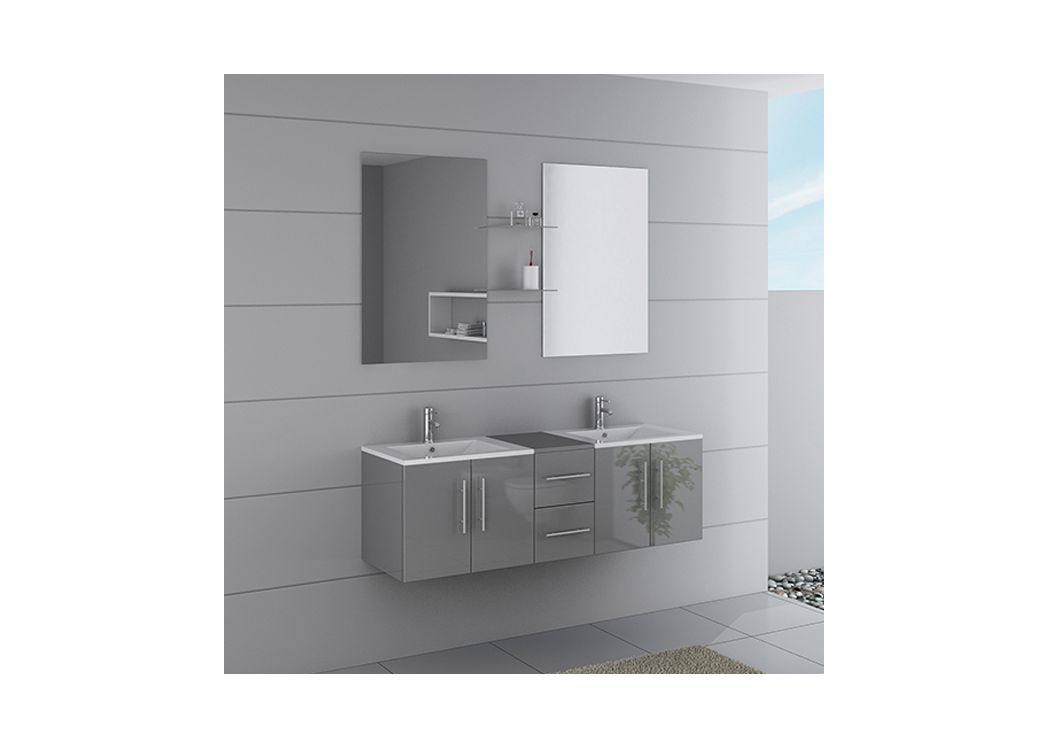 meuble de salle de bain double vasque gris dis1500gt. Black Bedroom Furniture Sets. Home Design Ideas