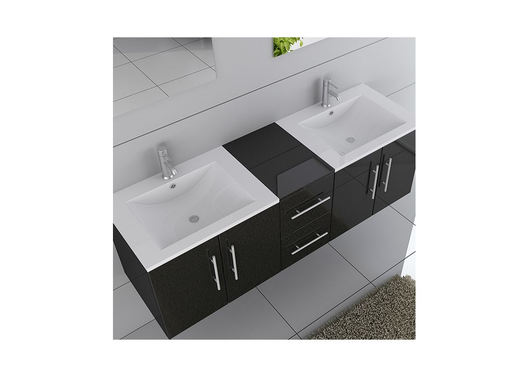 meuble de salle de bain double vasque noir dis1500n. Black Bedroom Furniture Sets. Home Design Ideas