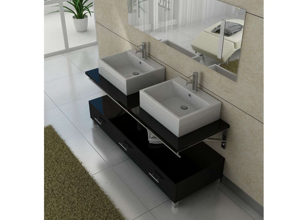 meuble de salle de bain double vasque noir dis985n. Black Bedroom Furniture Sets. Home Design Ideas