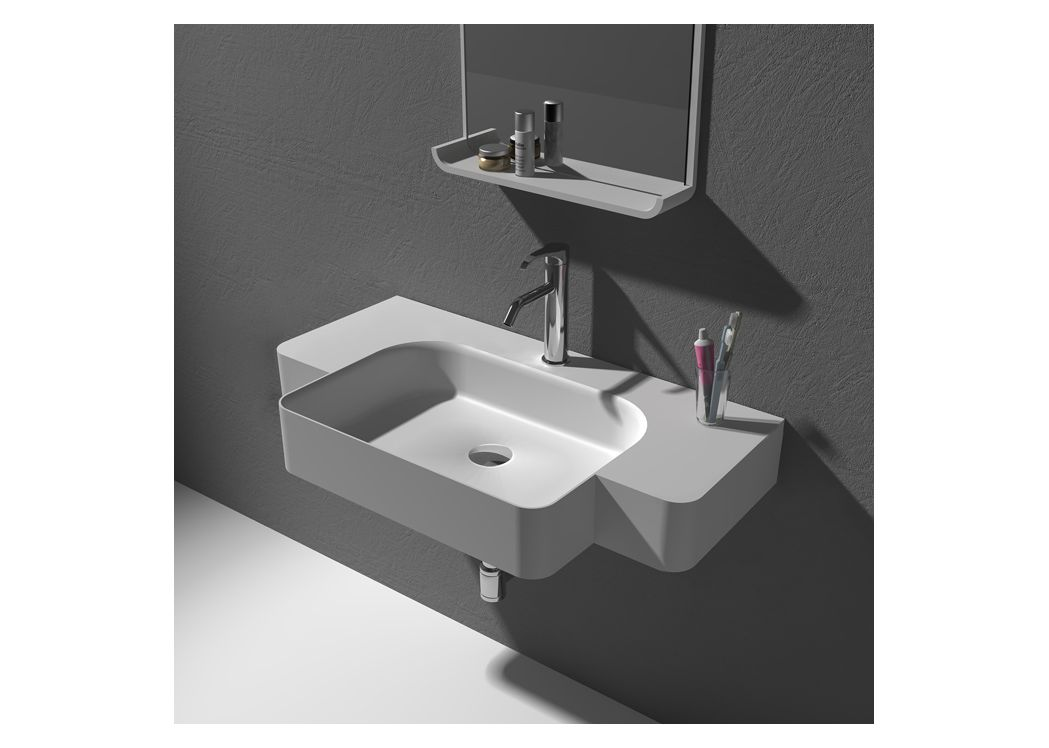 Plan vasque en solid surface suspendu plan vasque en for Plan vasque design